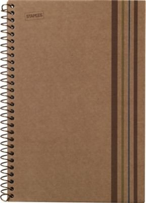 "Staples Sustainable Earth 1-Subject Wirebound Notebook, BRN, 8-1/2"" x 11"", EA"