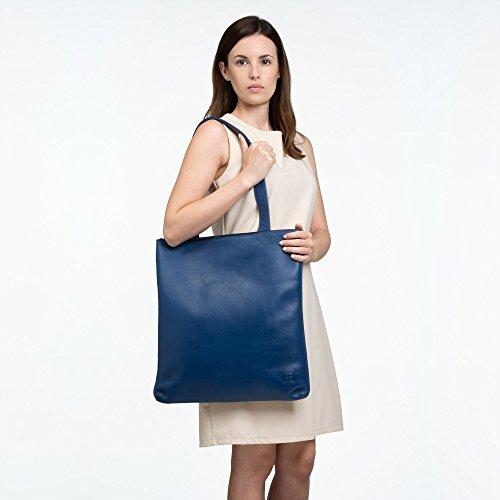 DUDU Borsa Shopper a spalla da donna in Vera Pelle Grande e Spaziosa con chiusura a Cerniera zip Nero