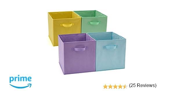 EZOWare Caja de Almacenaje x 4 Unidades, Almacenaje Juguetes, Caja para Ropa (33 x 38 x 33 cm) (Colores Variados): Amazon.es: Hogar
