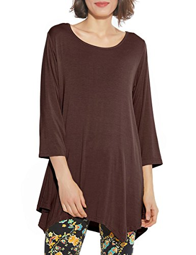 (BELAROI Women 3/4 Sleeve Swing Tunic Tops Plus Size T Shirt (3X, Coffee))