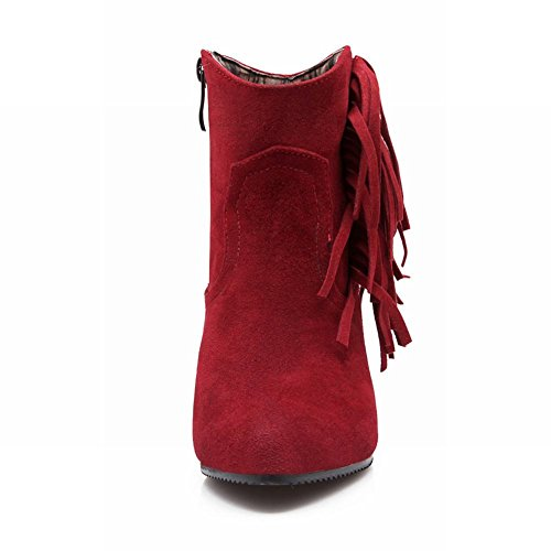 Carolbar Womens Fashion Tassels Zipper Pointed Toe Hidden Wedge Heel Dress Boots Red WckPLb2u
