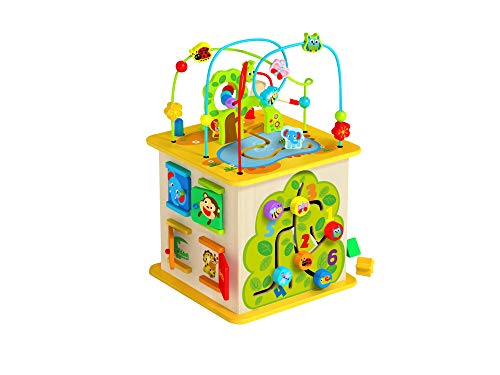 TOYSTER'S Wooden Activity Cube for Toddlers | Multi-Purpose Kids Educational Learning Wood Play Toy | Playset with Bead Maze for 1 Year Old Boys and Girls | Perfect for Learning Development (ED360)