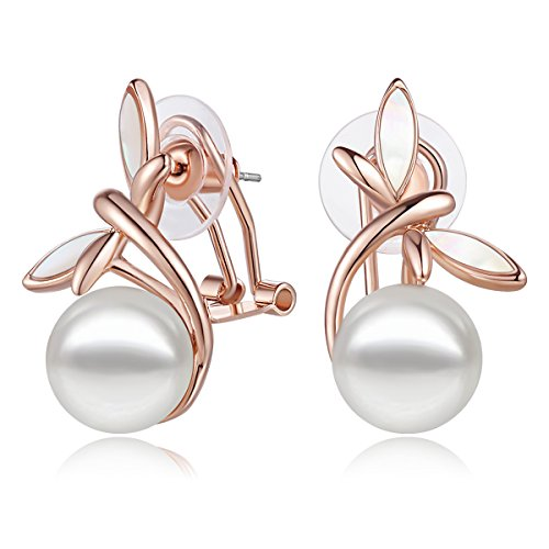 Carfeny Pearl Drop Earrings Rose Gold Plated Romantic Wihte Flower Earrings for Women Wedding Engagement Jewelry (White ()