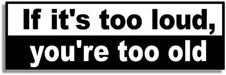 youre too old Car Bumper Sticker // Bedroom Door Sign Decal If its too loud Naughty Funny