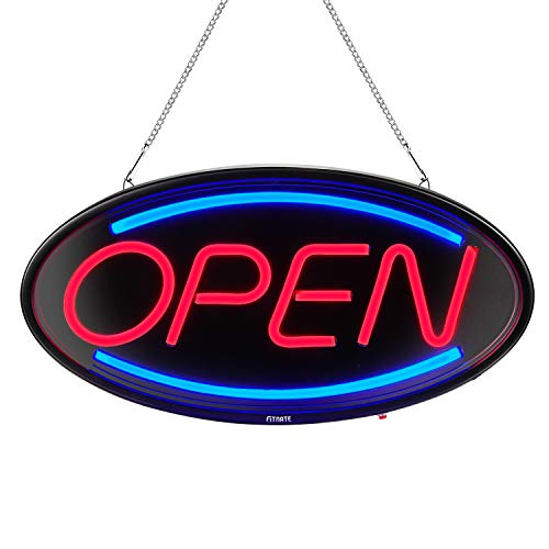 FITNATE Neon Open Sign,19x10inches Neon Open Sign for Business, Light Bar Advertisement Board Electric Display Sign, 2 Lighting Modes Flashing & Steady, for Walls, Window, Shop, Bar, Hotel