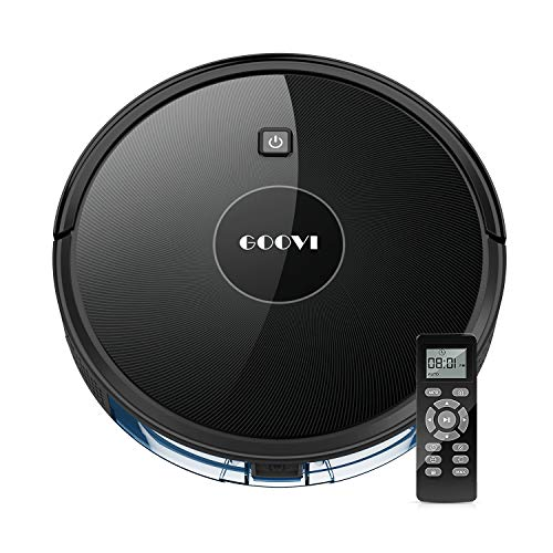 Robot Vacuum, GOOVI Robotic Vacuum Cleaner (Slim) Max Strong Suction, Quiet Multiple Cleaning Modes, Self-Charging Vacuum, for Pet Hair, Hard Floor, Medium-Pile Carpets