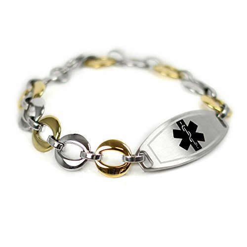 (My Identity Doctor - Medical ID Bracelet Custom Engraved, 1.5cm Gold Tone Steel Links - Black | Made in)