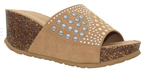 MVE Shoes Women's Rhinestone Slip On Platform - Cork Open Toe Mid Heel Wedges - Summer Slide Sandals, Tan ISU Size 11
