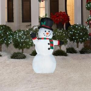 Airblown inflatable 3 5 39 led lighted snowman for Amazon christmas lawn decorations