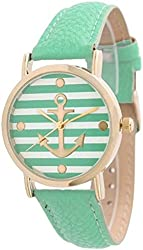 Women's Geneva Striped Anchor Style Leather Watch - Mint