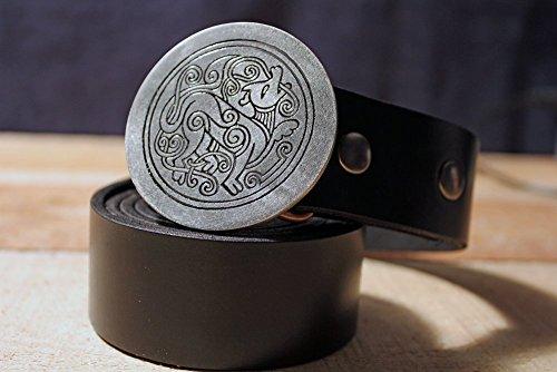 Celtic Wolf Etched Metal Belt Buckle - Belt Irish