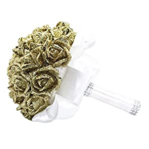 YJYdada Artificial Flower, Crystal Roses Pearl Bridesmaid Wedding Bouquet Bridal Artificial Silk Flowers De 116