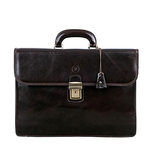(Maxwell Scott Luxury Brown Mans Leather Briefcase (The Paolo2) - One Size)