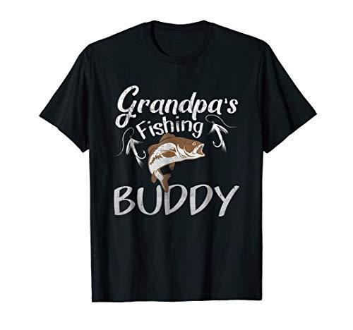 Grandpa's Fishing Buddy T-Shirt Grandson Granddaughter