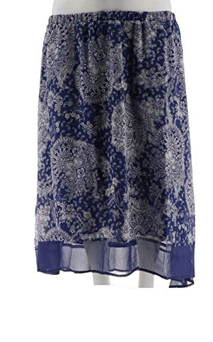 Liz Claiborne NY High Low Paisley Printed Pull-On Skirt Blue S New A252210 ()