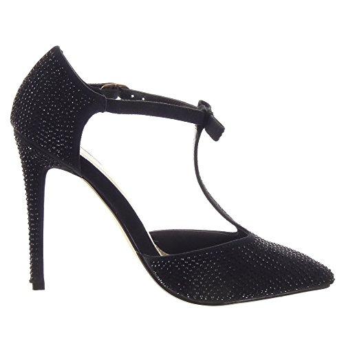 Sopily Zapatillas de Moda Tacón escarpín Sandalias Stiletto Correa Caña Baja Mujer Brillantes Strass Pajarita Talón Tacón de Aguja Alto 11.5CM - Negro