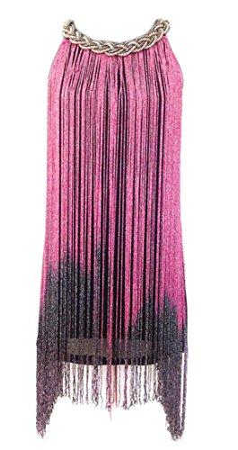 Frange Licol Élégant Des Femmes Cromoncent Spectacle De Danse Latine Mini-robes Rose Rouge