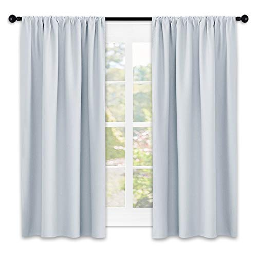 NICETOWN Greyish White Window Curtain Panels - Thermal Insulated Rod Pocket Room Darkening Curtain Sets for Bedroom (Platinum - Greyish White,2 Panels,42 by 45) by NICETOWN (Image #8)