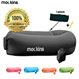 Mockins Black Inflatable Lounger Hangout Sofa Bed with Travel Bag Pouch The Portable Inflatable Couch Air Lounger is Perfect for Music Festivals and Camping Accessories Inflatable Hammock ... ... ...