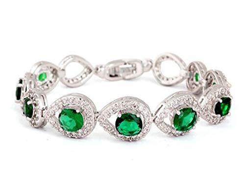 (Jewelry 4 Lady Luxury Emerald Accent Cz Cubic Zirconia Tennis Bracelet for Women Approx 6.8