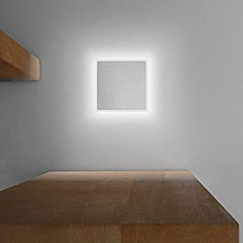 LED Treppenbeleuchtung EDGE Aus Aluminium In Eckig Für Schalterdoseneinbau  68mm   Kaltweiß 6500K   Farbe Aluminium