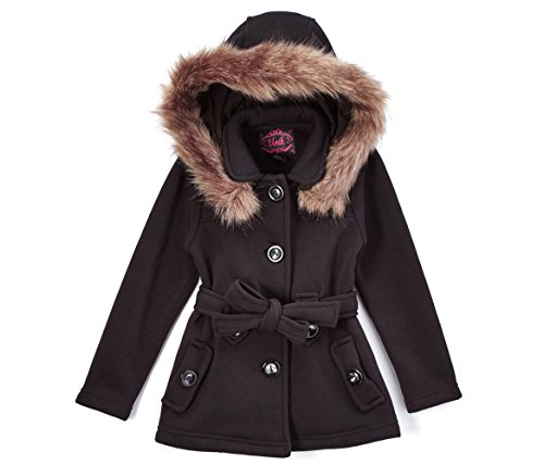 unik Girl Fleece Coat with Detachable Fur Lined Hood and Belt, Black Size X- Large (12)