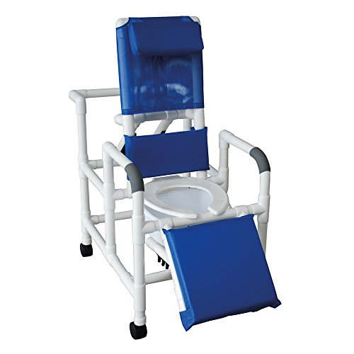 - MJM International 193-SQ-PAIL Reclining Shower Chair with Elevated Leg Extension and Commode Pail, 325 oz Capacity, 49.5