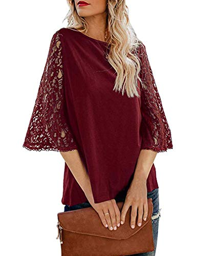 Summer Tops and Blouses,Womens Sexy Lace 3/4 Bell Sleeve Chiffon Tunic T-Shirts Wine Red, S