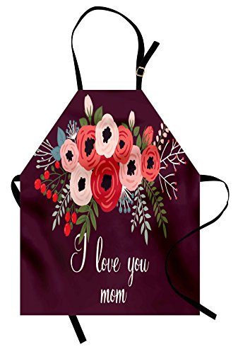Lunarable Mothers Day Apron, Bouquet of Spring Poppies and Hand Written Style I Love You Mom, Unisex Kitchen Bib Apron with Adjustable Neck for Cooking Baking Gardening, Maroon and Multicolor
