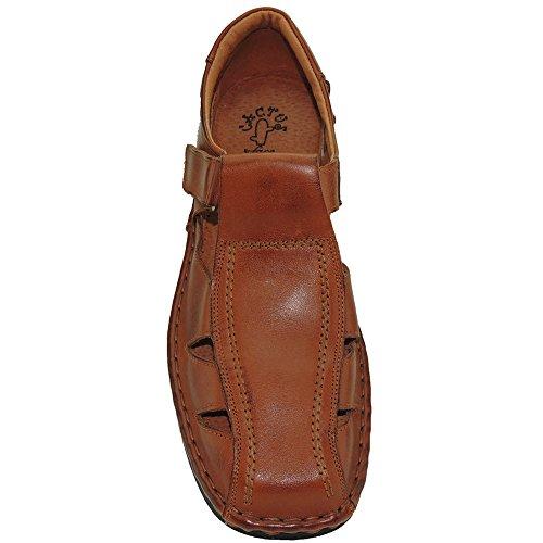 Cosida Piel Hombre Cactus Sandalia para Velcro 4015 Cuero Modelo con de y FxfqqpI