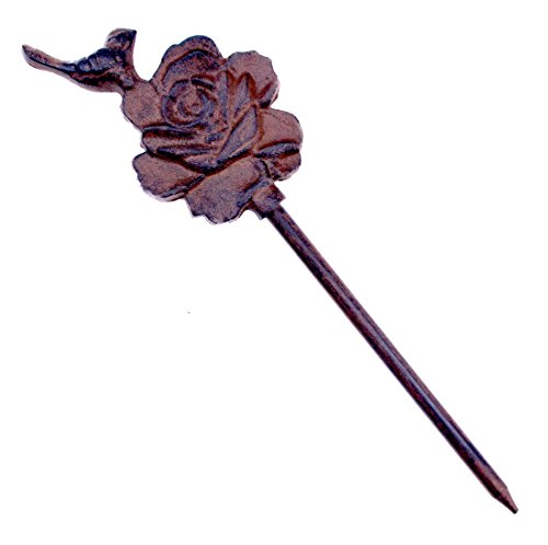 Import Wholesales Bird On Rose Garden Hose Guide Cast Iron Flower Bed Stake 12.5