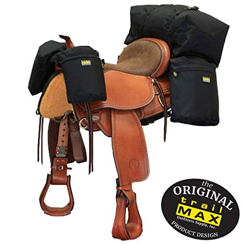 TrailMax Medium-Sized Saddle-Bag System, Overnighter Combo Pack with Horn Bags, Detachable Cantle Bag & Saddlebags in Black