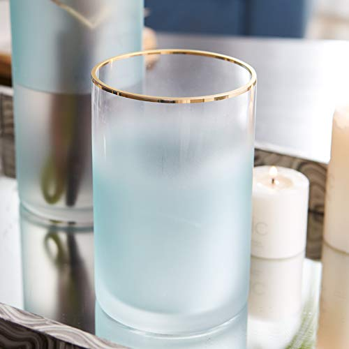 (Cyl Home Hurricane Candleholders Frosted Translucent Glass Vases Gold Rim Decor Dining Table Centerpieces Cylinder Tea light Holders Gifts for Wedding Housewarming party, 5.9'' H x 3.9'' D, Light Blue )
