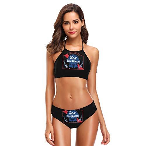 Black Ribbon Beer - Pabst Blue Ribbon Beer Logo Women's Bikini Set Two Piece Swimsuits High Neck Halter Bathing Suits Black