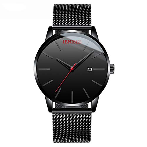 Men's Watch Fashion Date Slim Analog Quartz Watches with Stainless Steel Mesh Band - ()
