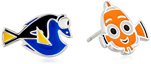 Sterling Silver Enamel Earring (Disney Sterling Silver Finding Dory Mismatched Nemo and Dory Stud)