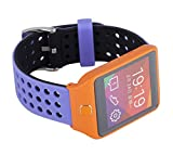 22mm Silicone Quick Release SmartWatch Bands for Moto 360 2 46mm / Samsung Gear 2,Gear 2 Neo,Gear 2 Live / LG G Watch W100,R W110,Urbane W150 / Pebble Time & Time Steel (Purple/Black)