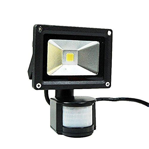 eTopLighting BLEFPIR10 120-volt 10-watt Day Light White Wide Angeled Waterproof High Power LED PIR Passive Motion Sensor Flood Outdoor Light Lamp, Black Finish