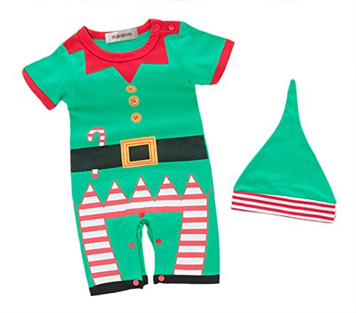 StylesILove Newborn Infant Toddler Unisex Baby Holiday Elf Short-Sleeved Costume Romper (70/3-6 Months) ()
