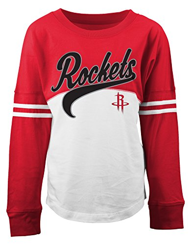 Rocket Applique (NBA Houston Rockets Children Girls Youth Slub Jersey 3/4 sleeve with Sequin Applique,L,White)
