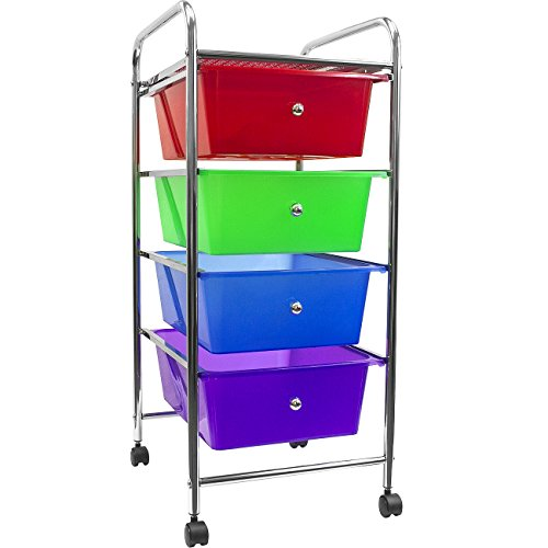 Sorbus 4 Drawer Organizer Rolling Cart -Features Storage Bins on Wheels-Great Organizer Cart for Home, Office, Classroom, Teaching Supplies and more (Multi-color) (Bin Cart Mobile)
