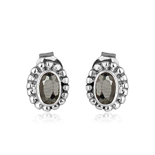 620b2f3ca Image Unavailable. Image not available for. Color: Oxidized 925 Silver  Hematite Gemstone Tiny Stud Earrings Handmade Jewelry
