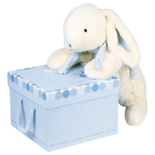 DOUDOU ET COMPAGNIE - Soft White & Blue Bunny with Pajama Pocket [並行輸入品]   B01MY46O6B