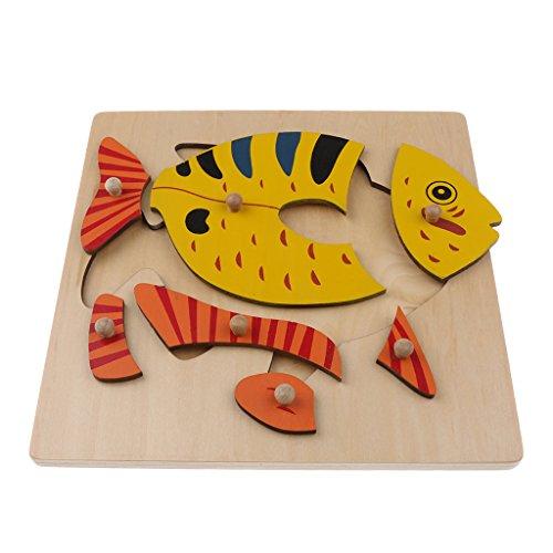 Baoblaze Kids/Baby Preschool Educational Montessori Wooden Jigsaw Puzzle Game Toy Gifts –Fish (Jigsaw Big Fish Wooden)