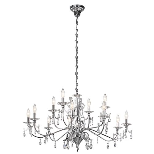 Kichler Lighting 42340CH Rizzo 12-Light  2-Tier Chandelier, Chrome Finish with Cut and Polished Crystal Accents (Steel Light Twelve Chandelier)