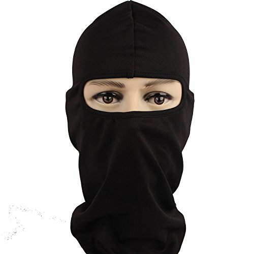Rioriva Classic Black Mens Hoods Outdoor Sports Balaclavas Cycling Full Face Mask (Quickdry-black),One Size,BA-08