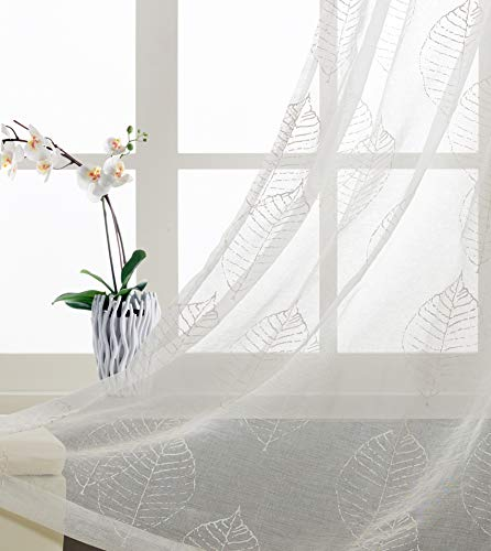 (Imitate Embroidery Sheer Curtains for Living Room Floral Patterns White Coating Print Leaves Window Treatment for Bedroom Transparent and Soft Grommet Top Thin and Soft 63 inch Length 2 Panels)