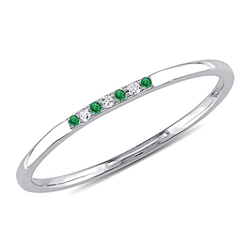 0.05 CT. Seven-Stone Round Natural Diamond & Green Emerald Wedding Band 10K White Gold For Women (Band Cut Stone Diamond Emerald)