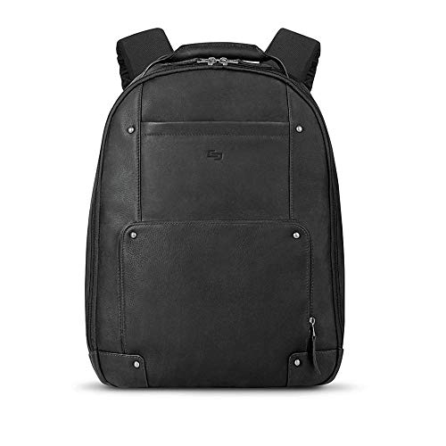 Solo Reade Vintage Leather Laptop Backpack, 15.6 Inch Leather Backpack for Women and Men Perfect for the Office, School, College and Travel, Black