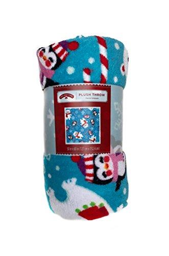 Christmas Holiday Time Plush Throw (Blue) Bears & Penguins